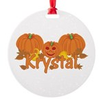 Halloween Pumpkin Krystal Round Ornament