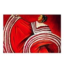 Woman in Red Dress Postcards (Package of 8)