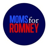 Moms for Romney Round Car Magnet