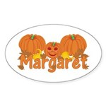 Halloween Pumpkin Margaret Sticker (Oval)