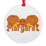 Halloween Pumpkin Margaret Round Ornament