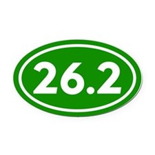Green 26.2 Marathon Runner Oval Car Magnet