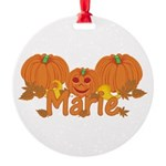 Halloween Pumpkin Marie Round Ornament
