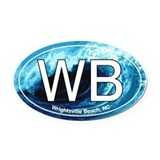Wrightsville Beach.WB.wave.jpg Oval Car Magnet