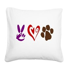 Peace, Love, Pets Symbols Square Canvas Pillow