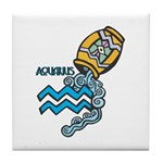 Aquarius Cool Water Design Tile Coaster