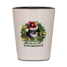 Merry Christmas Pekingnese Black.png Shot Glass