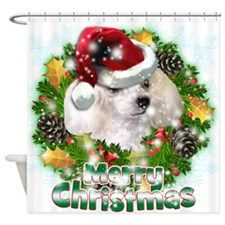 Merry Christmas Poodle.png Shower Curtain