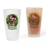 Merry Christmas St Bernard.png Drinking Glass
