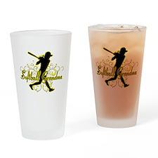 Softball Grandma (silhouette).png Drinking Glass