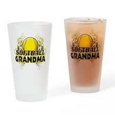 Softball Grandma (cross).png Drinking Glass