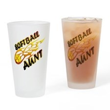 Softball Aunt (flame).png Drinking Glass