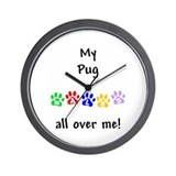 Pug Walks Wall Clock