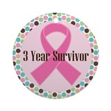 3 Year Breast Cancer Survivor Ornament (Round)