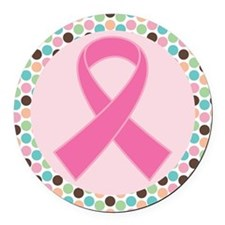 Cute Breast Cancer Ribbon Round Car Magnet