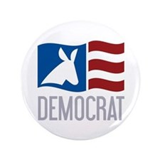 "Democrat Donkey Flag 3.5"" Button"