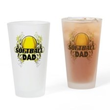 Softball Dads (cross).png Drinking Glass