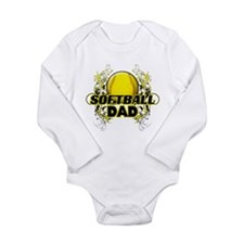 Softball Dads (cross).png Long Sleeve Infant Bodys