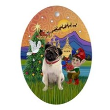 Xmas Fantasy with a Pug (4) Oval Ornament