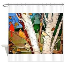 Birds in the Birch Tree Shower Curtain