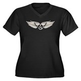 Winged Atheist Symbol Women's Plus Size V-Neck Dar