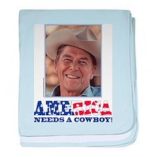 Ronald Reagan/Cowboy baby blanket