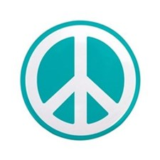 "Classic Teal Peace Sign 3.5"" Button"