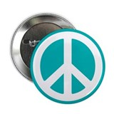 Classic Teal Peace Sign 2.25&amp;quot; Button