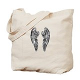 Dark Shaded Angel Wings Tote Bag