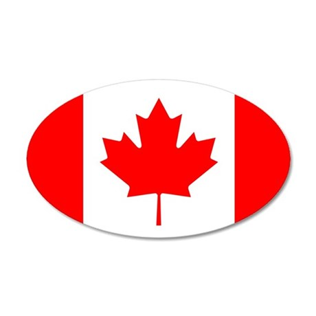 Canadian Flag 35x21 Oval Wall Decal