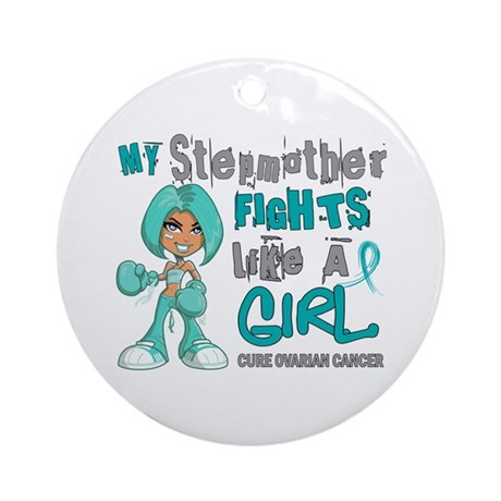Fights Like a Girl 42.9 Ovarian Cancer Ornament (R