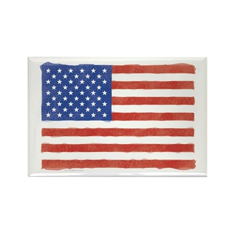 Watercolor USA Flag: Rectangle Magnet (100 pack)