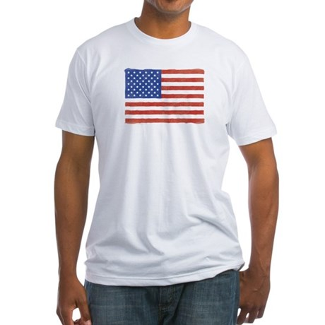 Watercolor USA Flag: Fitted T-Shirt