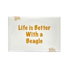 Life is better with a Beagle Rectangle Magnet
