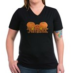 Halloween Pumpkin Natasha Women's V-Neck Dark T-Sh