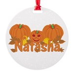 Halloween Pumpkin Natasha Round Ornament