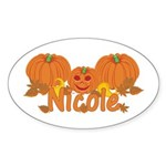 Halloween Pumpkin Nicole Sticker (Oval)