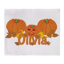 Halloween Pumpkin Olivia Throw Blanket