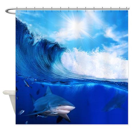 Blue gifts gt blue bathroom d 233 cor gt shark wave shower curtain