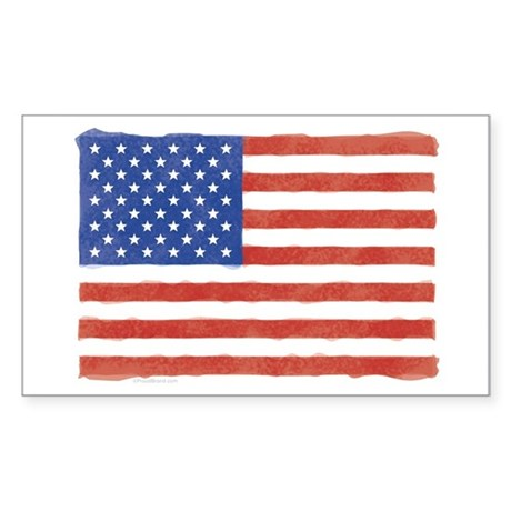 Watercolor USA Flag: Rectangle Sticker