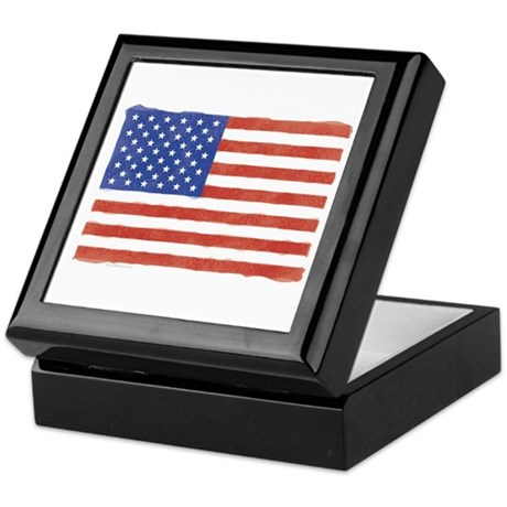 Watercolor USA Flag: Keepsake Box