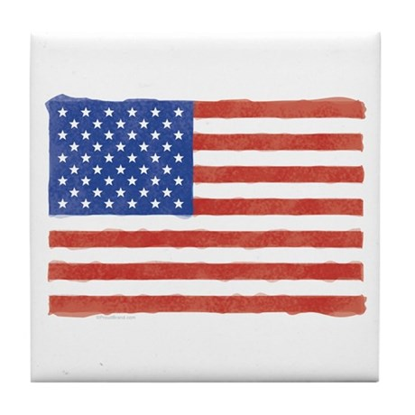 Watercolor USA Flag: Tile Coaster