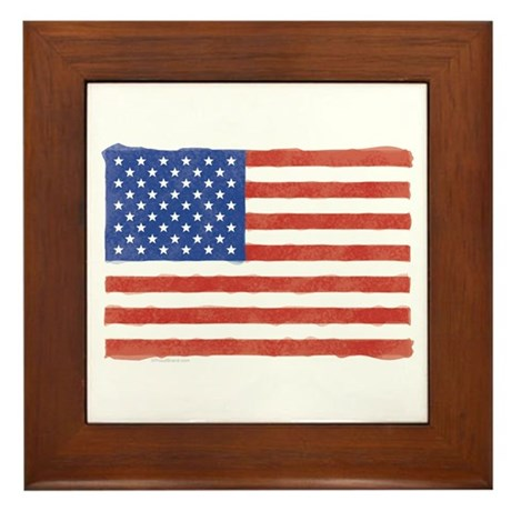 Watercolor USA Flag: Framed Tile