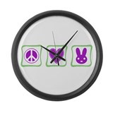 Peace Love Bunnies Large Wall Clock