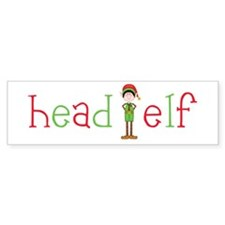 Head Christmas Elf Bumper Sticker