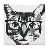 Cat with glasses Tile Coaster