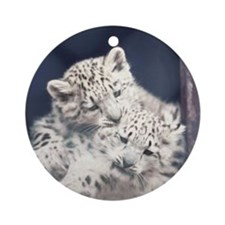 Snow Leopard Kits Ornament (Round)