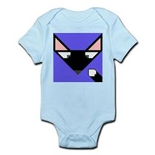 Cubist Black Fox Head and Tail Infant Bodysuit