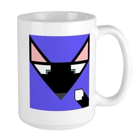 Cubist Black Fox Head and Tail Large Mug