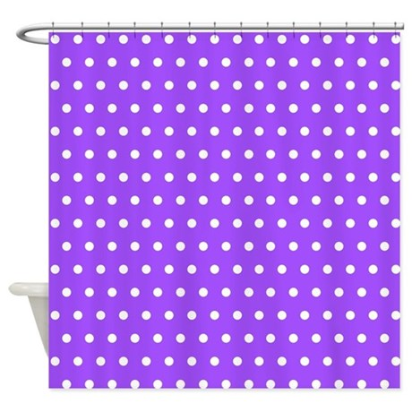 Polished Nickel Shower Curtain Rod Purple Polka Dot Fabric by the